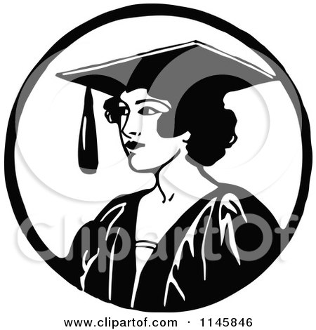 Clipart of a Retro Vintage Black and White Graduate Woman - Royalty Free Vector Illustration by Prawny Vintage