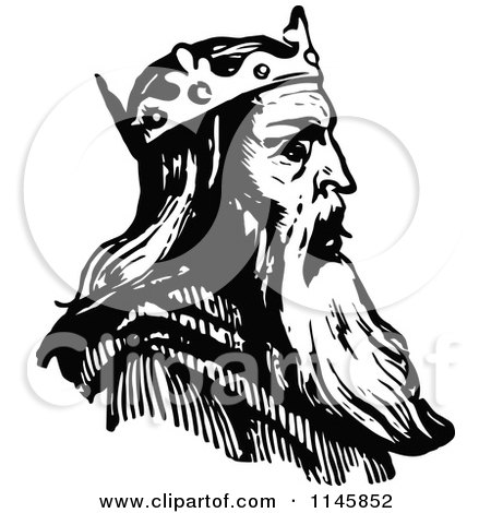 Clipart of a Retro Vintage Black and White King in Profile - Royalty Free Vector Illustration by Prawny Vintage
