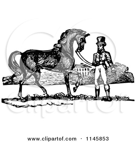 Clipart of a Retro Vintage Black and White Man and Handsome Horse - Royalty Free Vector Illustration by Prawny Vintage