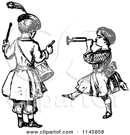 Clipart of Retro Vintage Black and White Kids Playing the Drums and a Horn - Royalty Free Vector Illustration by Prawny Vintage