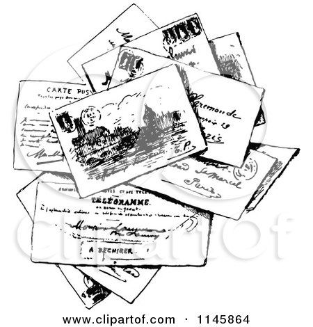 Clipart of a Retro Vintage Black and White Stack of Post ...