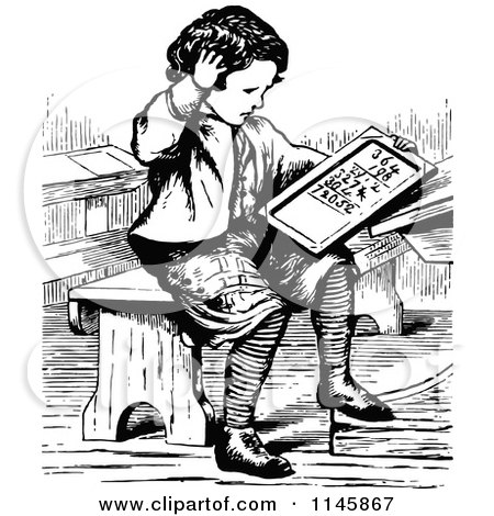 Clipart of a Retro Vintage Black and White Boy Doing Math - Royalty Free Vector Illustration by Prawny Vintage