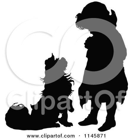 Clipart of a Retro Vintage Silhouetted Dog Begging to a Girl - Royalty Free Vector Illustration by Prawny Vintage