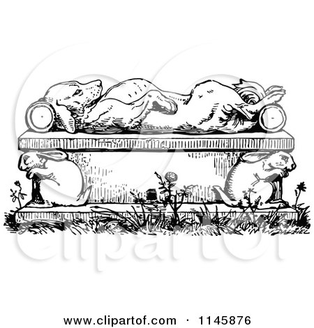 Clipart of a Retro Vintage Black and White Dead or Sleeping Dog on a Rabbit Bench - Royalty Free Vector Illustration by Prawny Vintage