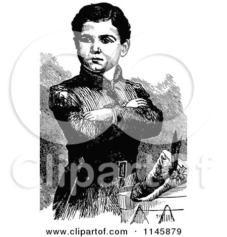 Clipart of a Retro Vintage Black and White Soldier Boy with Folded Arms - Royalty Free Vector Illustration by Prawny Vintage