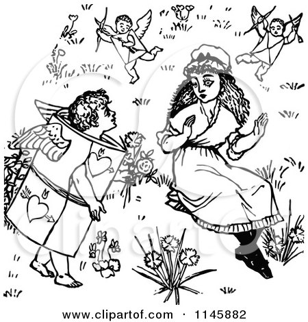 Clipart of a Retro Vintage Black and White Girl Surrounded by Valentine Cherubs - Royalty Free Vector Illustration by Prawny Vintage