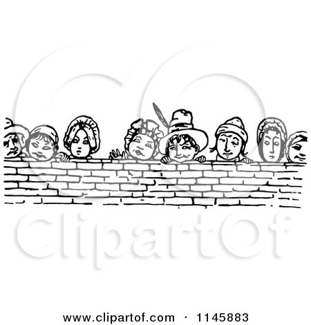 Clipart of Retro Vintage Black and White People Looking over a Brick Wall - Royalty Free Vector Illustration by Prawny Vintage
