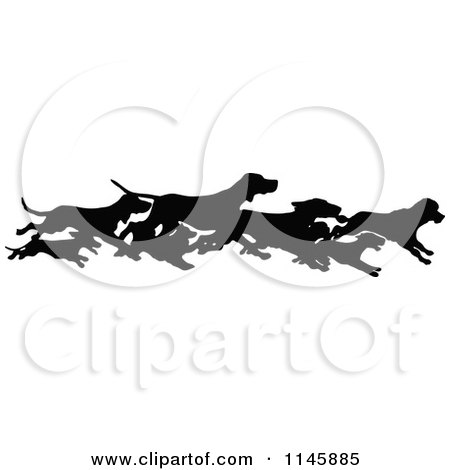 Clipart of a Retro Vintage Silhouetted Border of Running Dogs - Royalty Free Vector Illustration by Prawny Vintage
