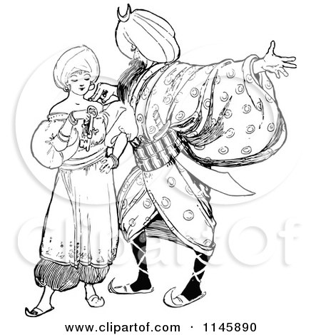 Clipart of a Retro Vintage Black and White Arabian Couple - Royalty Free Vector Illustration by Prawny Vintage