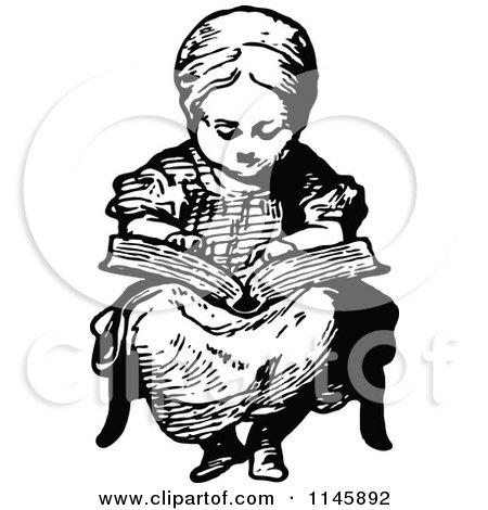 Clipart of a Retro Vintage Black and White Girl Reading a Story - Royalty Free Vector Illustration by Prawny Vintage