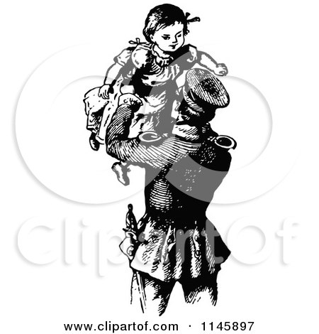 Clipart of a Retro Vintage Black and White Father Lifting His Daughter up - Royalty Free Vector Illustration by Prawny Vintage