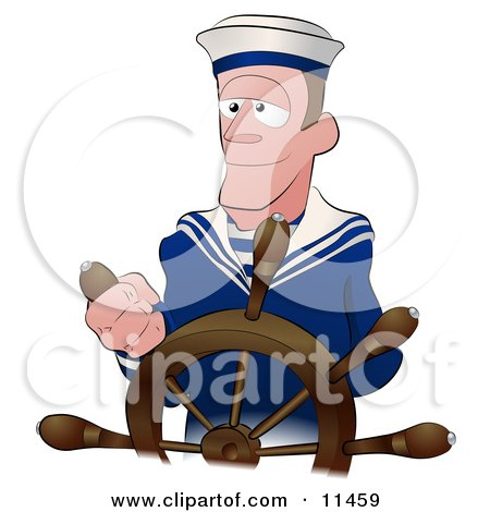 Sailor Man Steering The Wheel Of A Ship Clipart Illustration