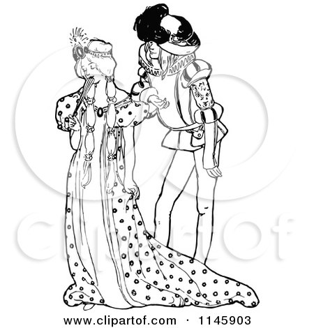Clipart of a Retro Vintage Black and White Shy Princess and Man - Royalty Free Vector Illustration by Prawny Vintage