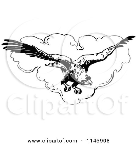 Clipart of a Retro Vintage Black and White Flying Eagle and Heart Cloud - Royalty Free Vector Illustration by Prawny Vintage