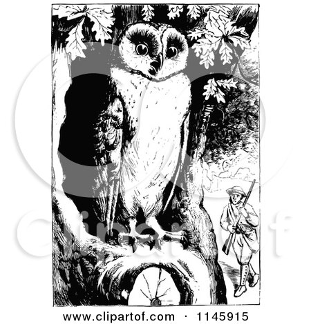 Clipart of a Retro Vintage Black and White Man with a Gun and Owl - Royalty Free Vector Illustration by Prawny Vintage