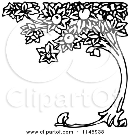 Clipart of a Retro Vintage Black and White Curved Peach Tree - Royalty Free Vector Illustration by Prawny Vintage