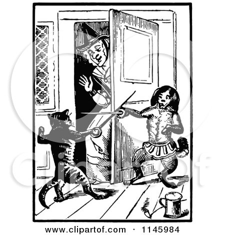 Clipart of a Retro Vintage Black and White Old Lady with Fencing Cats - Royalty Free Vector Illustration by Prawny Vintage