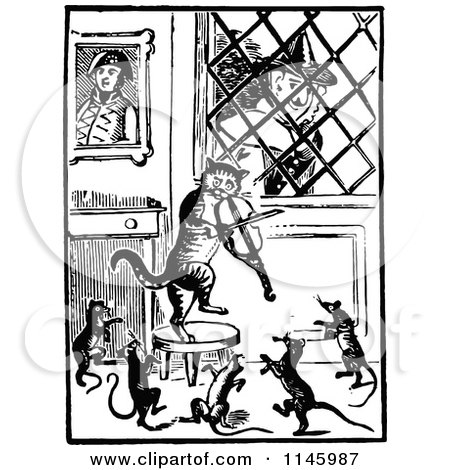 Clipart of a Retro Vintage Black and White Old Lady Watching Her Fiddle Cat and Dancing Mice - Royalty Free Vector Illustration by Prawny Vintage