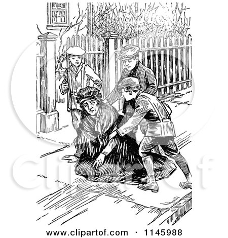 Clipart of Retro Vintage Black and White Boys Helping a Woman up - Royalty Free Vector Illustration by Prawny Vintage