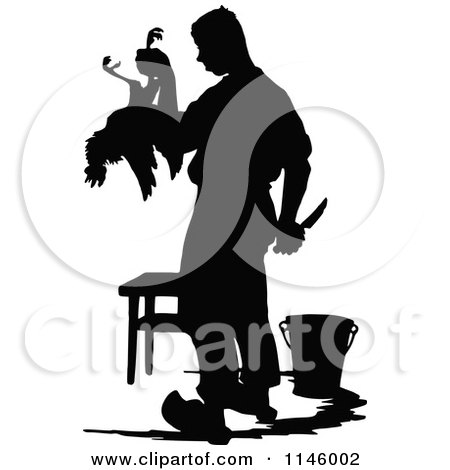 Clipart of a Retro Vintage Silhouetted Farmer Butchering a Chicken - Royalty Free Vector Illustration by Prawny Vintage