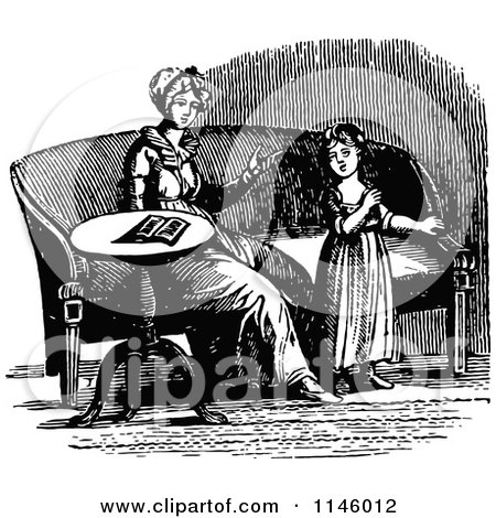 Clipart of a Retro Vintage Black and White Mother and Daughter by a Sofa - Royalty Free Vector Illustration by Prawny Vintage