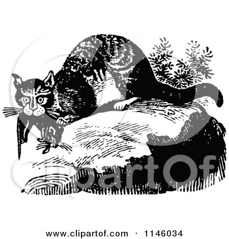 Clipart of a Retro Vintage Black and White Wild Cat with Prey - Royalty Free Vector Illustration by Prawny Vintage