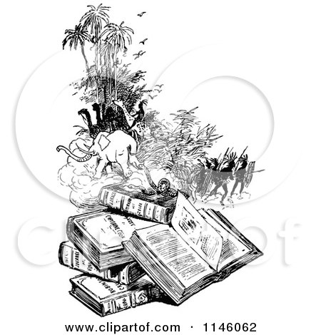 Clipart of a Retro Vintage Black and White Pile of Books and Scenes - Royalty Free Vector Illustration by Prawny Vintage