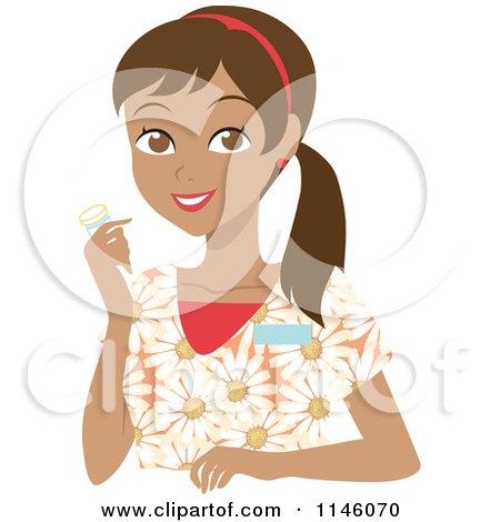Clipart of a Happy Hispanic Caregiver Woman in Scrubs Holding a Pill Bottle - Royalty Free CGI Illustration by Rosie Piter