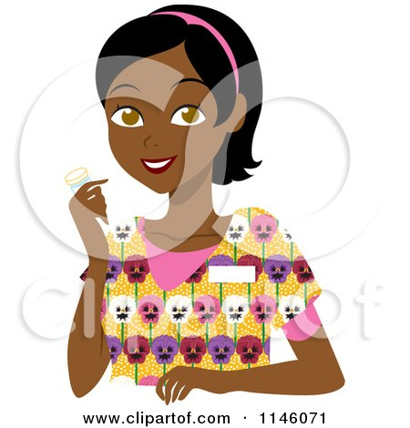 Cartoon Of A Beautiful Black Woman With Long Hair And Hoop
