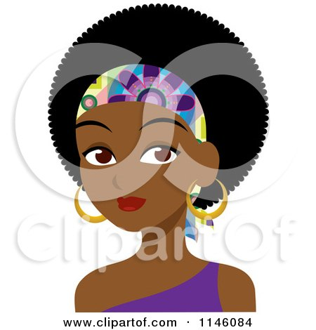 Clipart of a Beautiful Black Woman with an Afro and Headband - Royalty Free CGI Illustration by Rosie Piter