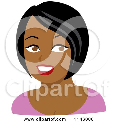 Clipart of a Beautiful Black Woman in a Pink Shirt - Royalty Free CGI Illustration by Rosie Piter
