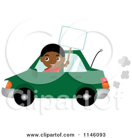 Clipart of a Happy Black Boy Driving a Green Car and Holding a Sign - Royalty Free CGI Illustration by Rosie Piter