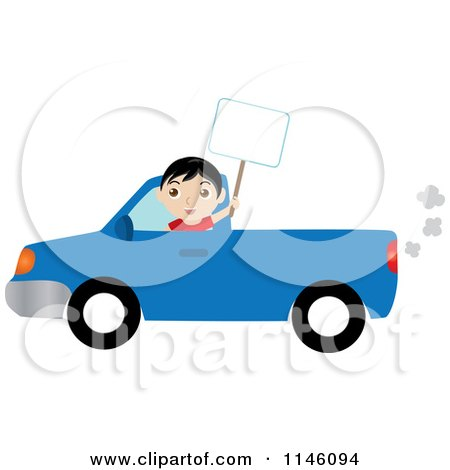 Clipart of a Boy Driving a Blue Pickup Truck and Holding up a Blank Sign - Royalty Free CGI Illustration by Rosie Piter