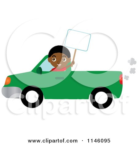 Clipart of a Boy Driving a Green Pickup Truck and Holding a Sign - Royalty Free CGI Illustration by Rosie Piter