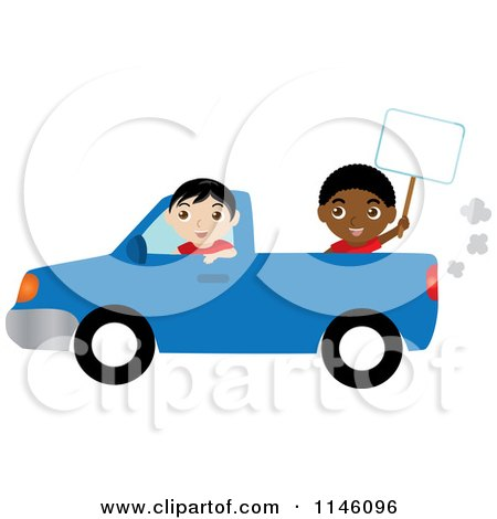 Clipart of a Boy Driving a Blue Pickup Truck and Another Boy Holding a Sign - Royalty Free CGI Illustration by Rosie Piter