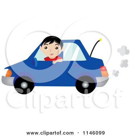 Clipart of a Happy Boy Driving a Blue Car - Royalty Free CGI Illustration by Rosie Piter