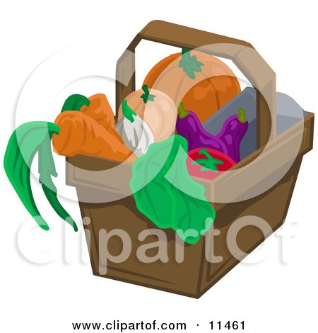 Pumpkin, Squash, Eggplant, Tomatoe, Lettuce, Onion and Carrots in a Basket Clipart Illustration by AtStockIllustration