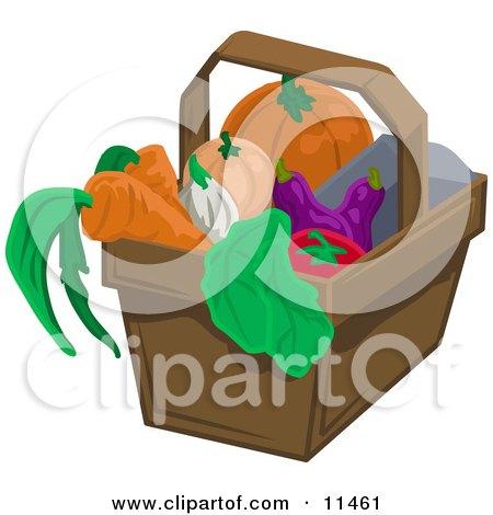 Pumpkin, Squash, Eggplant, Tomatoe, Lettuce, Onion and Carrots in a Basket Posters, Art Prints