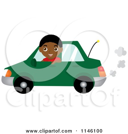 Clipart of a Happy Black Boy Driving a Green Car - Royalty Free CGI Illustration by Rosie Piter