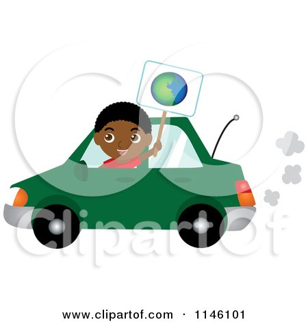 Clipart of a Happy Black Boy Driving a Green Car and Holding an Earth Sign - Royalty Free CGI Illustration by Rosie Piter