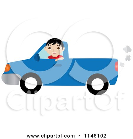 Clipart of a Boy Driving a Blue Pickup Truck - Royalty Free CGI Illustration by Rosie Piter