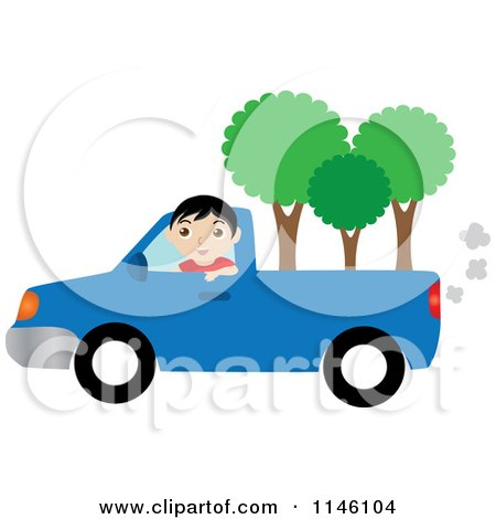 Clipart of a Boy Driving a Blue Pickup Truck with Trees in the Bed - Royalty Free CGI Illustration by Rosie Piter
