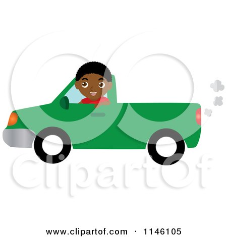 Clipart of a Boy Driving a Green Pickup Truck - Royalty Free CGI Illustration by Rosie Piter