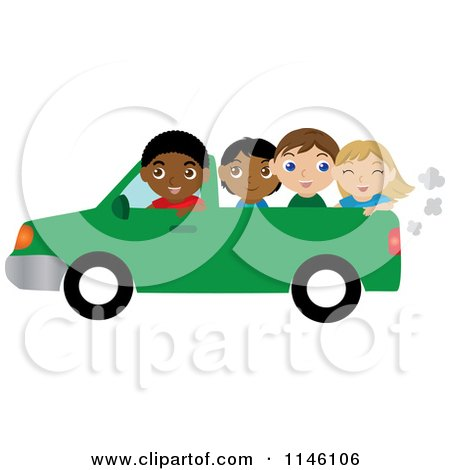 Clipart of a Black Boy Driving a Pickup Truck with Children in the Bed - Royalty Free CGI Illustration by Rosie Piter