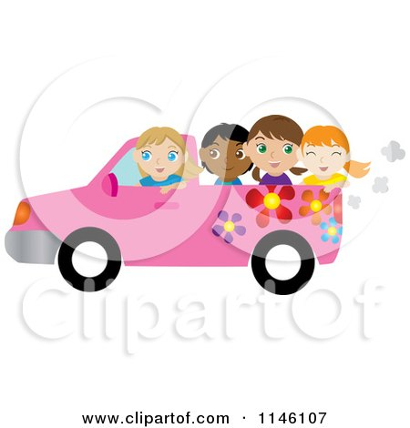 Clipart of a Girl Driving a Pink Floral Pickup Truck with Friends in the Bed - Royalty Free CGI Illustration by Rosie Piter
