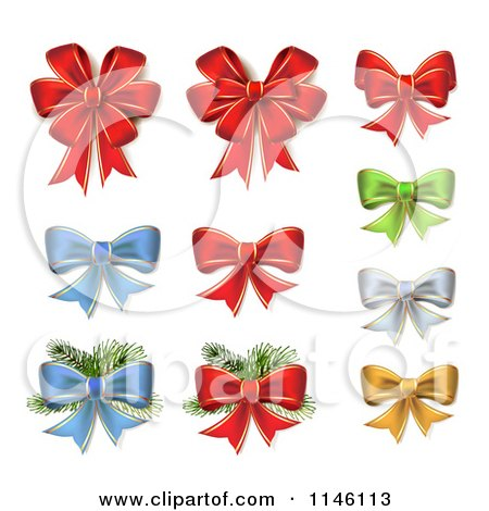 Clipart of Red Green Blue Silver and Gold Christmas Bows and Branches - Royalty Free Vector Illustration by merlinul