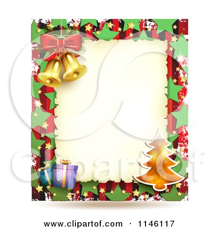 Clipart of a Christmas Frame with Gifts a Tree and Bells - Royalty Free Vector Illustration by merlinul