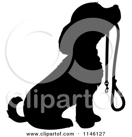 Clipart of a Silhouetted Puppy Sitting with a Leash in Its Mouth ...