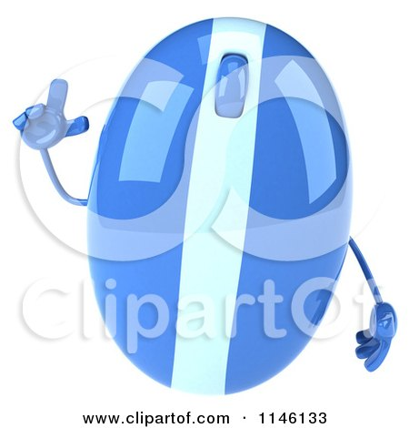 Clipart of a 3d Blue Computer Mouse Mascot with an Idea - Royalty Free CGI Illustration by Julos