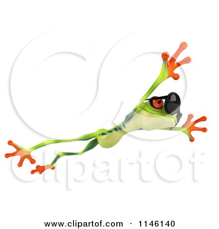 Clipart of a 3d Argie Frog Wearing Sunglasses and Leaping - Royalty Free CGI Illustration by Julos